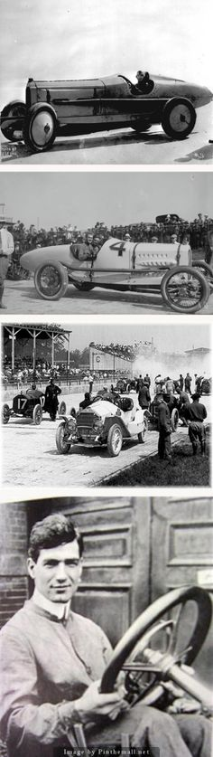 AUTO RACING: Ralph DePalma with his new Packard Liberty V-12 at Indianapolis, 1912. De Palma in his 1915 winning Mecedes.  Ralph DePalma, on the one-mile dirt of the Indiana State Fairgrounds in 1917.  Ralph De Palma, won the 1915 Indianapolis and 4 consecutive American dirt track championships.