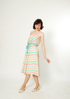 {vintage '70s pastel chevron rainbow dress}\ Reminds me of my favorite dress when I was growing up!
