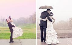 rainy day golf course wedding photos