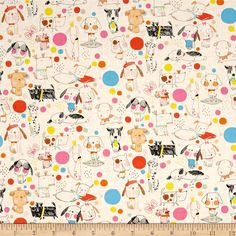 Alexander Henry Monkey's Bizness Puppy Polka Dot Nautral from @fabricdotcom  From the DeLeon Group for Alexander Henry, this cotton print fabric embodies the dog spirit with playful pups in bright colors. Perfect for quilting, apparel and home decor accents. Colors include cream, black, blue, mint, yellow, orange, shades of pink, tan, brown and golden orange.