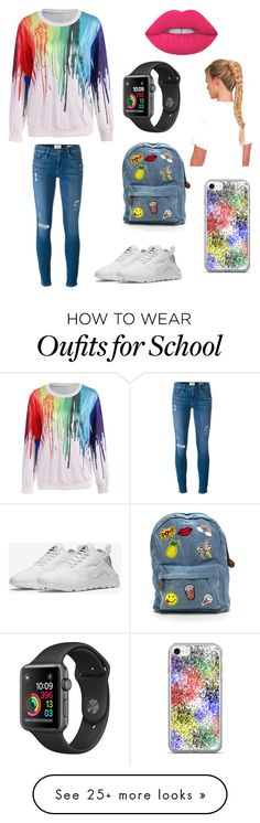 """""""Lazy day at school"""" by stephaniesok on Polyvore featuring Frame and NIKE"""