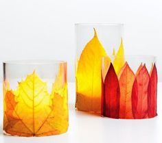 herbstdeko-basteln-und-coole-bastelidee-für-kerzenhalter-mit-bäume-blätter-dekoration