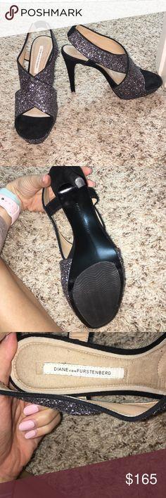 Diane von Furstenberg Sparkly Heels Barely worn, didn't fit! Diane von Furstenberg Shoes Heels