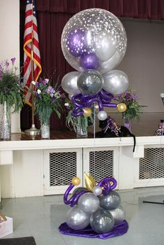 "this could be a great way to incorporate disco balls. glue ""mirror"" squares to a large balloon, place it on a stand. Ballon Decorations, Balloon Centerpieces, Diy Party Decorations, Balloon Columns, Balloon Arch, Balloon Ideas, Balloon Bouquet, Ballon Arrangement, Balloons Galore"