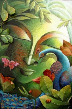 Art Indian Art Art By Nature Nature Art The Tree Of Life Contemporary Art Asian Art Art For Nature Fine Art Green Leaf Tree Flowers Paintings Butterfly Paintings Forest Birds Lady Bugs Painting - The Tree Of Life Series by Dhananjay Mukherjee Tree Of Life Painting, Buddha Painting, Krishna Painting, Mural Painting, Buddha Artwork, Painting Trees, Arte Krishna, Canvas Art, Canvas Prints