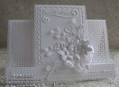 Good morning everyone. how is your weather today! brr ours is cold and rain, very bad rain in the night as forecast. hope you are all safe. Love all white cards, this one is so easy to make! Wedding Cards Handmade, Handmade Birthday Cards, Handmade Cards, Pretty Cards, Cute Cards, Center Step Cards, Best Wishes Card, Stepper Cards, Tattered Lace Cards