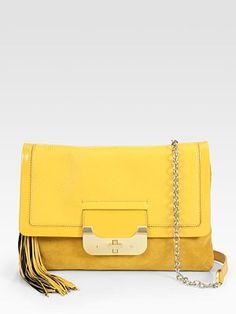 Diane von Furstenberg  Patent Leather & Suede Envelope Clutch