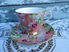 Pink Floral Tea cup Teacup English Bone China