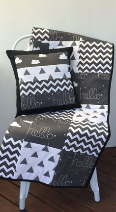 Black White & Grey (monochrome) Baby Patchwork Cot / Crib Quilt With Cushion…
