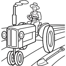 Farmer Driving Tractor Coloring Pages Tractor Coloring Pages, Preschool Coloring Pages, Cute Coloring Pages, Adult Coloring Pages, Coloring Sheets, Free Coloring, Creative Skills, Creative Activities, Tractor Drawing