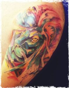 Roberto Nascimento lion abstract watercolor tattoo