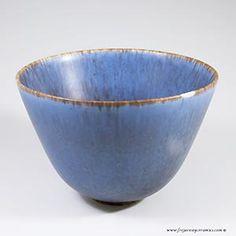 Gunnar Nylund for Rorstrand, blue ARU bowl, haresfur glaze