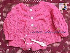 TRICÔ DA MÉIA Baby Cardigan Knitting Pattern Free, Knitting Patterns Free, Free Pattern, Cardigan Bebe, Pull Bebe, Baby Pullover, Bebe Baby, Baby Sweaters, Charity