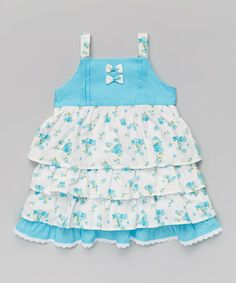 Loving this Blue Floral Ruffle Dress - Infant, Toddler & Girls on #zulily! #zulilyfinds