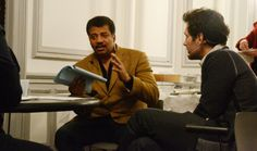 Pre-show briefing. Neil deGrasse Tyson and Paul Rudd. StarTalk Live at BAM, 2-24-14. Photo credit: Stacey Severn