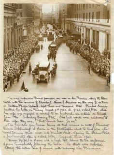 """The funeral procession of Warren Harding in San Francisco on August From the album of Mr. Henry Hamilton Dobbin, titled """"Album of San Francisco,"""" this scrapbook page now resides with the. Presidents Wives, Republican Presidents, American Presidents, American History, Warren Harding, Warren G, Famous Graves, Kings Man, Black And White Colour"""