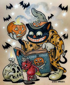 Black-Cat-Magic, United States, by Lance Inkwell. Halloween Cartoons, Halloween Pictures, Halloween Horror, Holidays Halloween, Vintage Halloween, Halloween Crafts, Halloween Decorations, Halloween Costumes, Vintage Horror