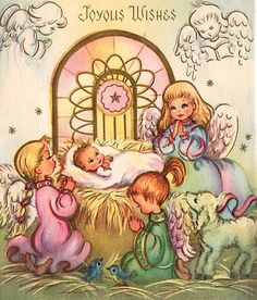 Vintage Pastel Nativity Christmas Card