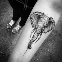 Inez Janiak #blackwork #elephant #linework #tattoo