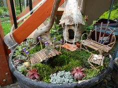 fairy gardening... too much fun! (abby wants a fairy garden might have to just make one)