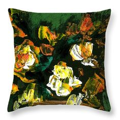 Roses Throw Pillow featuring the painting Roses In Vase On Green Background by Cuiava Laurentiu Pillow Sale, Green Backgrounds, Poplin Fabric, Fine Art America, Roses, Tapestry, Throw Pillows, Random, Prints