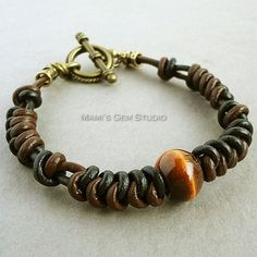 Brown and Black Leather Braided Bracelet for Men with Tiger Eye Stone