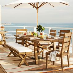 Drift away. Each piece in the Jardine Dining Collection is made of FSC®-certified wood and has a rugged, driftwood-inspired finish that feels cured by sun and salty air. Weather-resistant, this collection fills all of your outer dining needs.