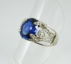 Sapphire and silver wire wrapped ring by GemfireWire on Etsy, $65.00