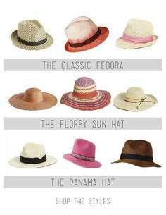 summer hat guide, top 3 hat styles, fedora, floppy sun hat, panama hat via @mystylevita