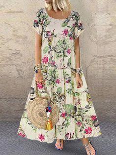 Starmoon Womens Plus Size Casual Short Sleeve Boho Retro Linen Print Long Maxi Dress - Linen Dresses - Ideas of Linen Dresses Cheap Summer Dresses, Dress Summer, Vestidos Vintage, Themed Outfits, Plus Size Casual, Ideias Fashion, Short Sleeve Dresses, Maxi Dress With Sleeves, Ruffle Dress