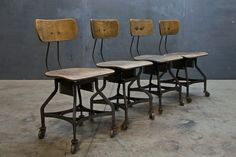 Vintage Drafting Factory Chairs