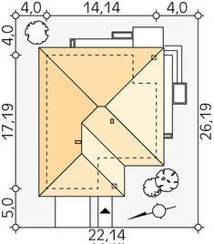 Projekt domu MT Ariel paliwo stałe CE - DOM - gotowy koszt budowy Roof Design, House Design, Modern Bungalow House, Bathroom Floor Plans, Roof Structure, Design Case, Ariel, Wood Carving, House Plans