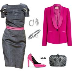 """""""Grey and cerise"""" by lellelelle on Polyvore"""