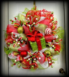 Just Reduced!!! Two Left!!!!!   HUGE -- LIMITED Edition - RAZ Deco Mesh Christmas Wreath - Red and Lime Green  - Raz Decorations