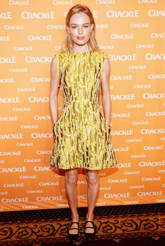 Kate Bosworth in a Giamba Ribbon dress and Carven flats.