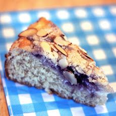 Blueberry Cream Cheese Coffee Cake Recipe Breakfast and Brunch, Breads with flour, granulated sugar, salted butter, baking powder, baking soda, salt, sour cream, almond extract, eggs, cream cheese, granulated sugar, eggs, blueberri preserv, sliced almonds