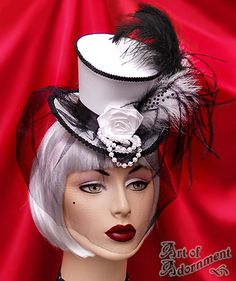 Harlequin Veiled Ascot Satin Mini Top Hat $42.00