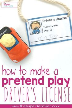 This is an easy tutorial for how to make a pretend driver's license! Perfect dramatic play for a transportation theme! There's 16 pictures to choose from and the kids can write their own names. This was so much fun! My preschool students loved these! Transportation Theme Preschool, Preschool Themes, Preschool Classroom, Kindergarten, Transportation Activities For Preschoolers, Preschool Crafts, Preschool Playground, Preschool Boards, Preschool Bible