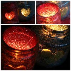 Glitter Jar Tea Light Holders