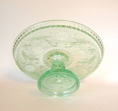 Vintage Chantilly Green Indiana Glass Tiara Cake Pedestal Plate/Cake Stand - Rare
