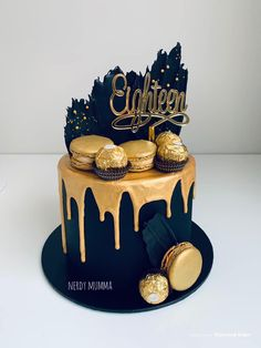 In my cake business personally, I get a request for a black and gold themed cake on approx. a fortnightly basis. Black And Gold Birthday Cake, Black And Gold Cake, Black Gold Party, 18th Cake, Birthday Cakes For Men, Cakes For Birthday, Happy Birthday, 60th Birthday, Beautiful Birthday Cakes