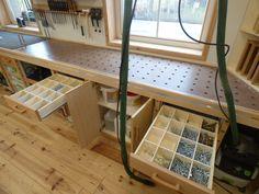 Woodworking Bench New sysport workbench and cabinets Workshop Layout, Workshop Storage, Garage Workshop, Tool Storage, Garage Storage, Storage Ideas, Woodworking Shop Layout, Woodworking Bench, Woodworking Crafts