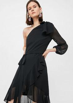 Asymmetrical ruffle dress -  Woman | MANGO The Philippines