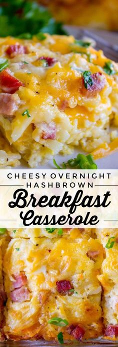 Cheesy Overnight Hashbrown Breakfast Casserole from The Food Charlatan. This Cheesy Hashbrown Breakfast Casserole is everything you need on Christmas morning! Hashbrowns are baked til crispy, then topped with eggs, cheese, and black forest ham. Overnight Hashbrown Breakfast Casserole, Sausage Breakfast, Breakfast Dishes, Breakfast Potatoes, Breakfast Recipes With Eggs, Easy Breakfast Casserole Recipes, Breakfast Quiche, Breakfast Tacos, Best Breakfast Meals