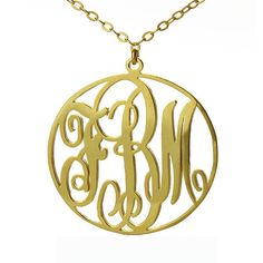 Monogram Necklace Gold Plated 3 Initial Circle Sterling Silver Monogrammed Name Pendant- 1.25 inch - 100% Handmade Gift for Her