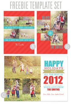 Free digital Christmas card templates for creating your own Holiday photo cards.