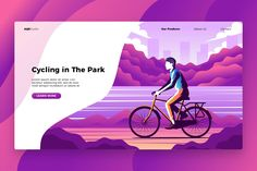 Cycling - Banner & Landing Page by AQR Studio on @creativemarket