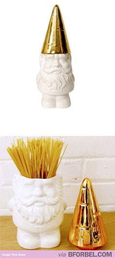 Gnome container to hold spaghetti. Cute.