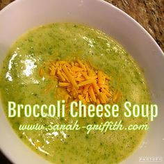 Clean homemade Broccoli Cheese Soup. 21 day fix approved and easy to make.