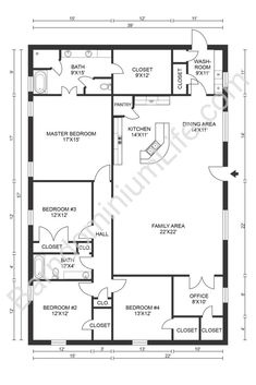 Top 20 Barndominium Floor Plans Metal House Plans, Barn House Plans, New House Plans, Dream House Plans, Modern House Plans, Small House Plans, Rectangle House Plans, Modern Floor Plans, House Layout Plans